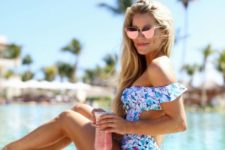 05 floral off the shoulder monokini with a back cutout