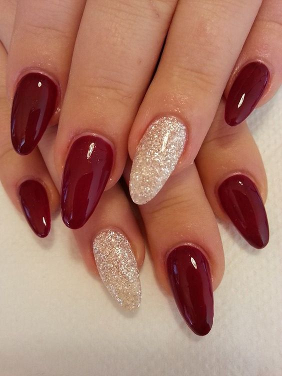 hot red and white glitter nails for the winter