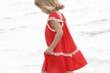 05 light red dress with white pompom trim is very comfy for wearing