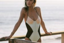05 one-piece color block wimsuit in black, green and pink with thin straps