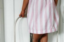 05 pink vertical and horizontal striped dress without sleeves