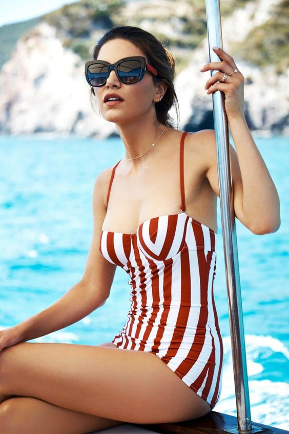 retro inspired bathing suit with red and white vertical stripes