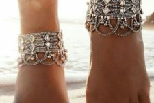 05 statament beach anklets with layered chains and large rhinestones