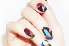 06 abstract colorful geo nails with a color blocking technique