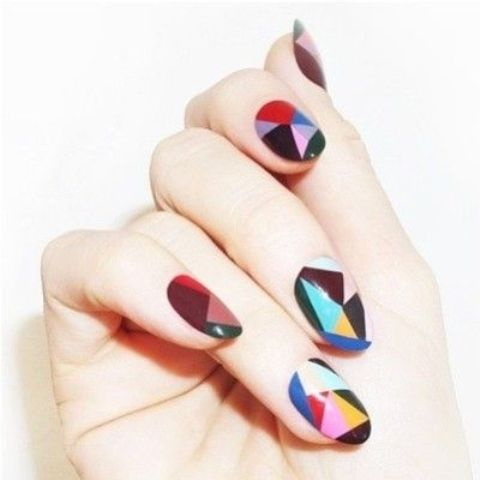 abstract colorful geo nails with a color blocking technique