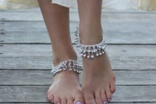 06 silver layered chain anklets with silver beads