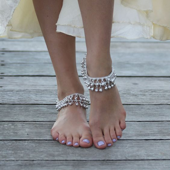silver layered chain anklets with silver beads