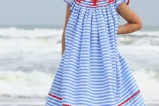 06 striped blue and white midi dress with lobster decor and ruffled sleeves