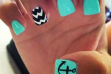 07 aqua nails and an accent chevron one in black and white
