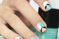 07 green, white, black and orange geo nails, each nail is different
