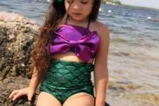 07 little mermaid two piece swimsuit in emerald and purple