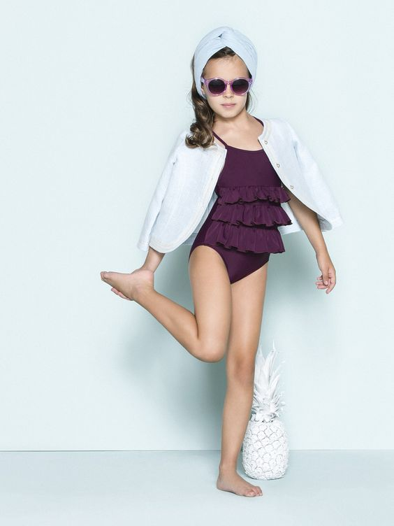 purple spaghetti strap bathing suit with ruffles