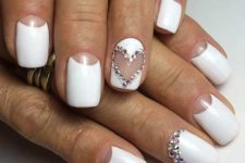 07 white half moon manicure with lots of rhinestones for a bride