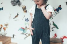 08 a black and white polka dot tee and a black strap overall with pockets
