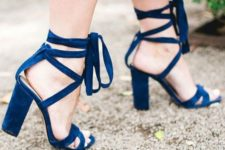 08 cobalt blue suede lace up heeled sandals to make a colorful statement