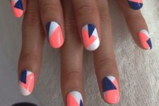 08 color block geo nails in white, orange and blue