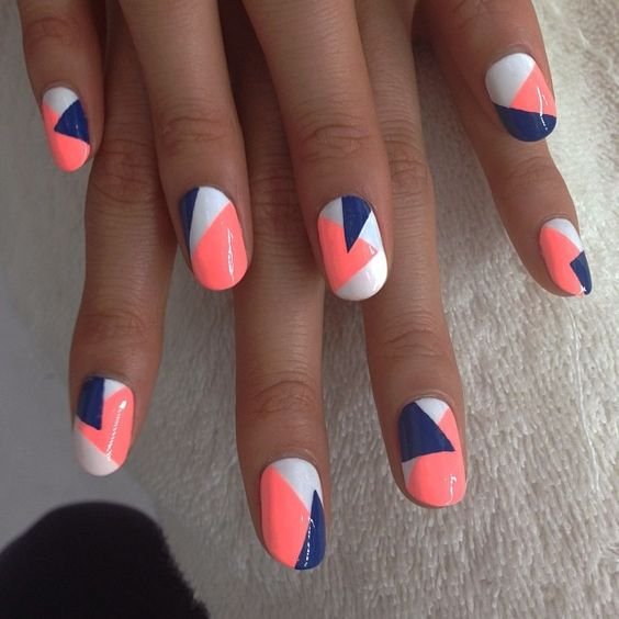 color block geo nails in white, orange and blue