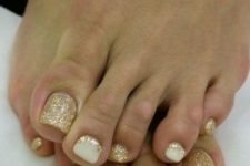 08 gold glitter nails and white ones with gold glitter touches