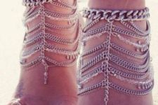 08 layered chain beach anklets with pendants