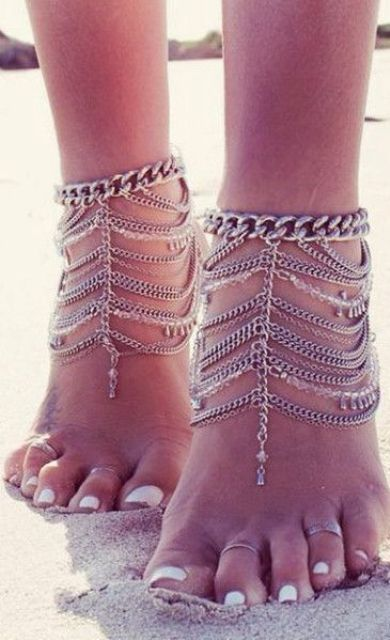layered chain beach anklets with pendants
