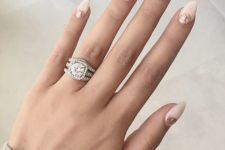 09 blush half moon almond nails with pink glitter