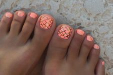 09 bold orange pedicure with fish scales and some gold accents for a little mermaid