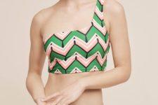 09 bold printed green and pink one shoulder bikini
