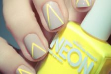09 grey nails with neon yellow stripes for a chic look