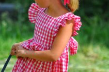 09 pink checked dress with ruffled sleeves is classics