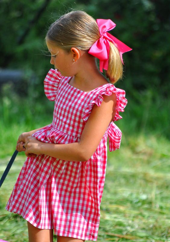 pink checked dress with ruffled sleeves is classics