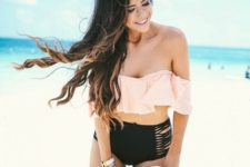 10 a blush off the shoulder ruffle top and a high waist bandage bottom
