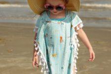 10 aqua-colored sea creature print taseel beach cover up
