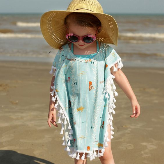 aqua-colored sea creature print taseel beach cover up