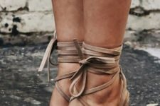 10 heeled tan lace up leather sandals