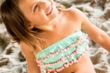 10 mint bikini with pink pompoms all over is super cute