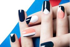 10 navy, orange and white graphic nails to rock