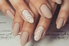 10 nude matte nails with white lace accent ones