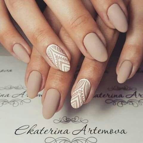 nude matte nails with white lace accent ones