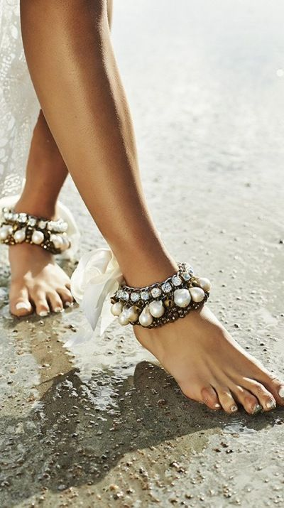 statement anklets with large rhinestones and pearls