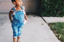 11 a polka dot straptop and a denim overall, lace up flats