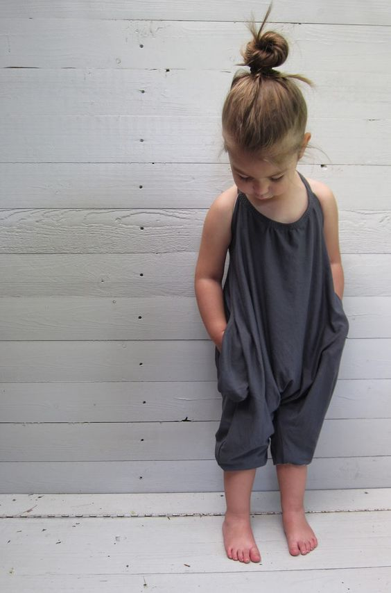 casual loose dark grey romper with straps and pockets