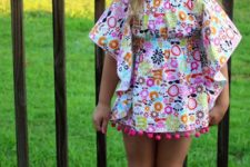 11 colorful print butterfly -shaped pompom beachwear cover up