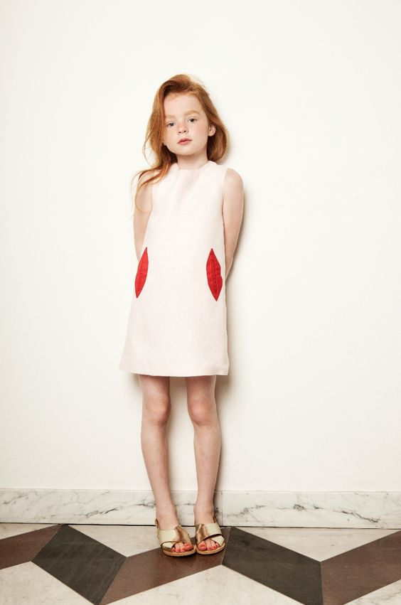 funny lips pocket dress for little fashionistas