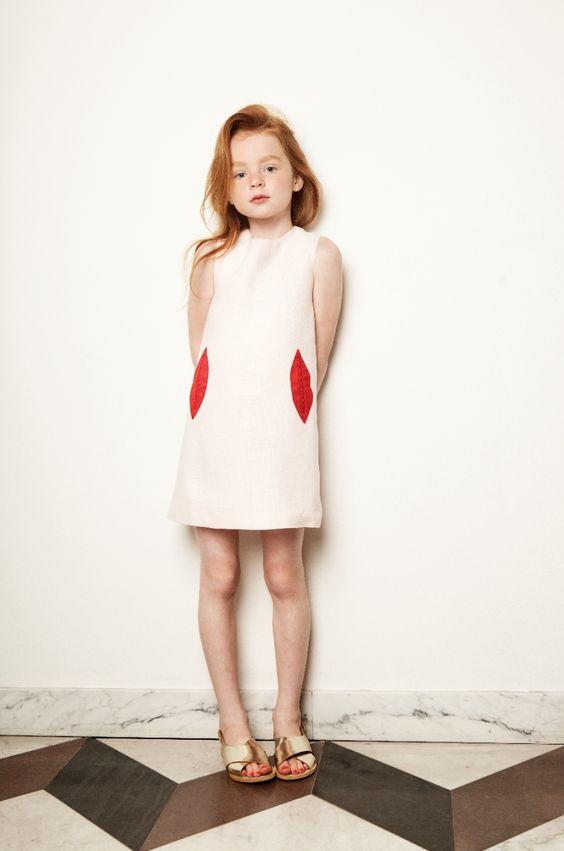 funny lips pocket dress for little fashionistas