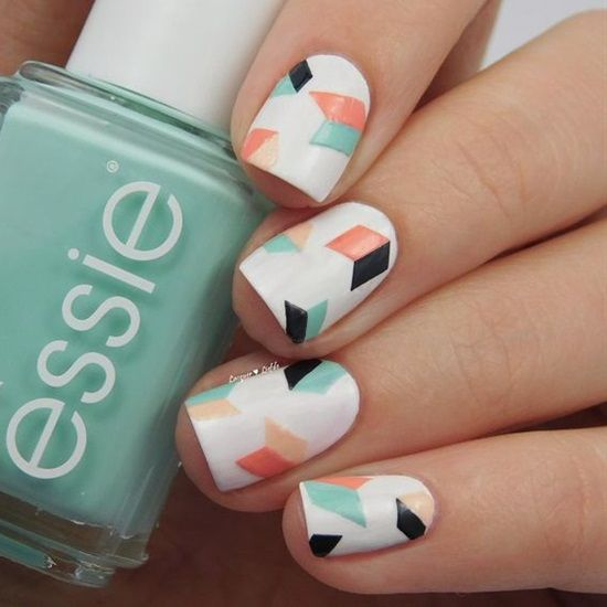 geometric nails in white, black, mint and orange with a chaotic geo design - 20 Chic And Timeless Geometric Nail Designs - Styleoholic