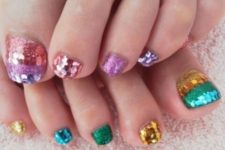 11 glitter and sequins of different bold colors are cool for summer