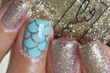glitter beach manicure