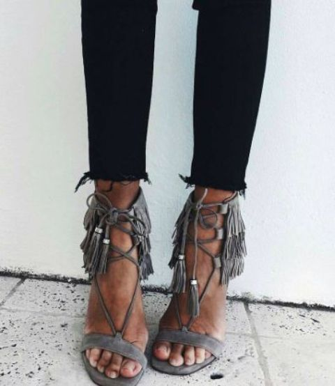 grey suede lace up heels with tassel decor