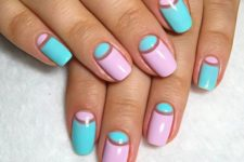 12 bold blue and pink half moon nails for summer