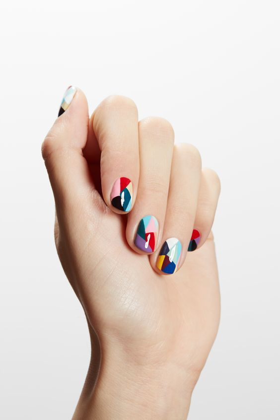 bold geometric nails in all the colors